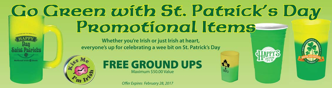 St Patrick beer mugs, stadium cups, buttons,shot glasses